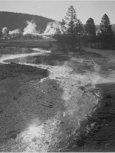 "Stream Winding Back Toward Geyser ""Central Geyser Basin Yellowstone NP"" Wyoming 1933-1942 by Ansel Adams"