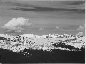 Timberline Dark Fgnd Light Snow Capped Mt Rocky Mountain NP. Never Summer Range, Colorado 1933-1942 by Ansel Adams