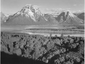 "View Across River Valley Toward ""Mount Moran"" Grand Teton, National Park Wyoming. 1933-1942 by Ansel Adams"