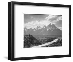 View From River Valley Towards Snow Covered Mts River In Fgnd, Grand Teton NP Wyoming 1933-1942 by Ansel Adams