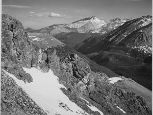 """View Of Barren Mountains With Snow """"Long's Peak Rocky Mountain National Park"""" Colorado. 1933-1942 by Ansel Adams"""
