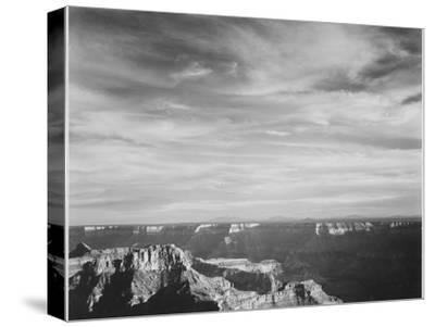 View Of Canyon In Fgnd Horizon Mts & Clouded Sky From North Rim 1941, Grand Canyon NP, Arizona 1941