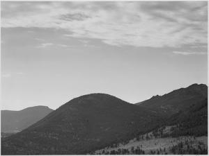 """View Of Hill With Trees Clouded Sky """"In Rocky Mountain National Park"""" Colorado 1933-1942 by Ansel Adams"""