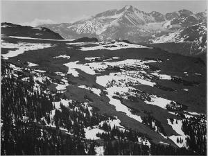 "View Of Plateau Snow Covered Mountain In Bkgd ""Long's Peak Rocky Mountain NP"" Colorado. 1933-1942 by Ansel Adams"