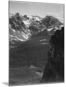 """View Of Snow-Capped Mt Timbered Area Below """"In Rocky Mountain National Park"""" Colorado 1933-1942 by Ansel Adams"""