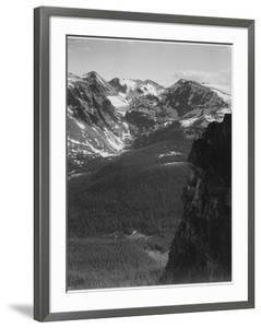 "View Of Snow-Capped Mt Timbered Area Below ""In Rocky Mountain National Park"" Colorado 1933-1942 by Ansel Adams"