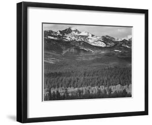 """View Of Trees And Snow-Capped Mts """"Long's Peak From Road Rocky Mountain NP"""" Colorado 1933-1942 by Ansel Adams"""