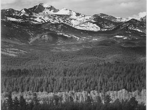 "View Of Trees And Snow-Capped Mts ""Long's Peak From Road Rocky Mountain NP"" Colorado 1933-1942 by Ansel Adams"