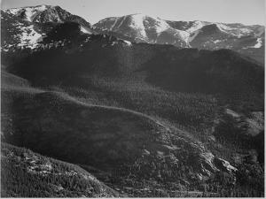 "View Of Wooded Hills With Mountains In Bkgd ""In Rocky Mountain National Park"" Colorado. 1933-1942 by Ansel Adams"