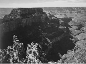 """View With Rock Formation Different Angle """"Grand Canyon National Park"""" Arizona. 1933-1942 by Ansel Adams"""