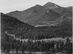 "View With Trees In Foreground Barren Mountains In Bkgd ""In Rocky Mountain NP"" Colorado 1933-1942 by Ansel Adams"