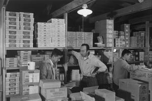 Warehouse, M. Ogi, Manager; S. Sugimoto, Manager of Co-Op; Bunkichi Hayashi by Ansel Adams