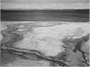 Yellowstone Lake-Hot Springs Overflow Yellowstone National Park Wyoming. 1933-1942 by Ansel Adams