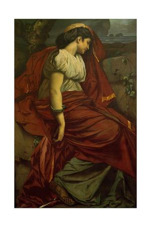 Medea and the dagger. Medea is Feuerbach's favourite Roman model Nana. Oil on canvas Inv. M 197.