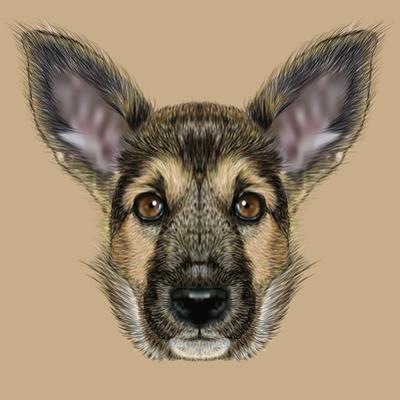 Illustrative Portrait of Shepherd Dog. Cute Puppy with Traditional Colour of Coat.