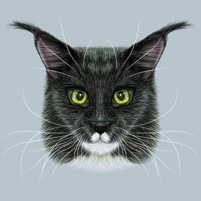 Vector Illustrative Portrait of Maine Coon. Cute Bi-Colour Domestic Cat with Green Eyes. by ant_art19