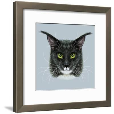 Vector Illustrative Portrait of Maine Coon. Cute Bi-Colour Domestic Cat with Green Eyes.
