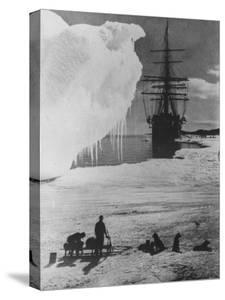 "Antarctic Expedition of Robert Scott on Ice with Ship ""Terra Nova"" Anchored in Background"