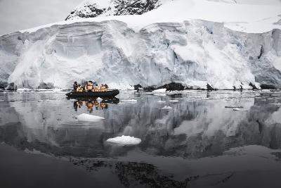 Antarctica. Tourists Looking at a Glacier from a Zodiac-Janet Muir-Photographic Print