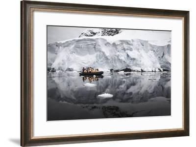 Antarctica. Tourists Looking at a Glacier from a Zodiac-Janet Muir-Framed Photographic Print