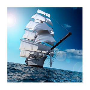 Sailing Ship At Sea by Antartis