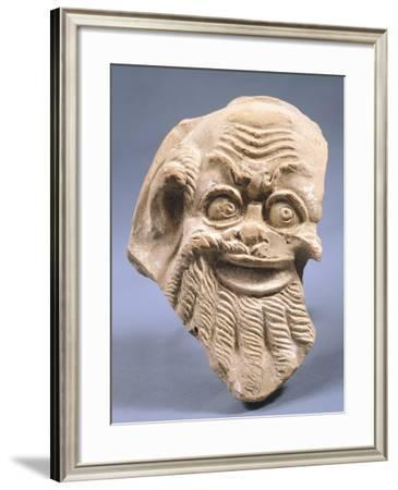 Antefix Depicting Satyr, Terracotta Sculpture from Temple of Eraclea--Framed Giclee Print
