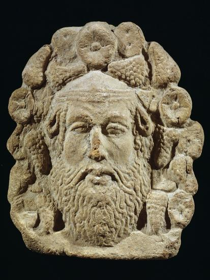 Antefix Depicting Silenus' Head Surrounded by Bunches of Grapes and Flowers--Giclee Print