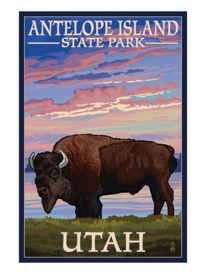 Antelope Island State Park, Utah - Bison and Sunset-Lantern Press-Art Print