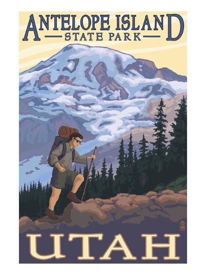 Antelope Island State Park, Utah - Hiking Scene-Lantern Press-Art Print