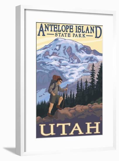 Antelope Island State Park, Utah - Hiking Scene-Lantern Press-Framed Art Print