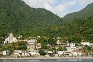 Dominica, Roseau, View of Villages South of Roseau on the Green Hills by Anthony Asael
