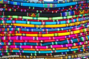 La Paz, Bolivia. Textiles for sale in handicraft market, in La Paz, Bolivia. by Anthony Asael