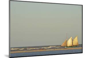 Madagascar, Morondava, Fisherman Boat with Large White Sails at Sea by Anthony Asael