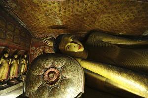 Sri Lanka, Dambulla, Dambulla Cave Temple, Face of Sleeping Buddha by Anthony Asael