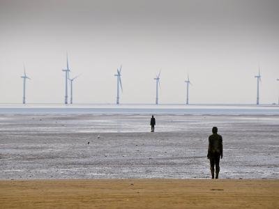 Anthony Gormleys Another Place, Crosby Beach, Merseyside, England, UK-Alan Copson-Photographic Print
