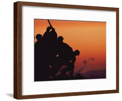 Silhouetted View of the Iwo Jima Memorial at Twilight