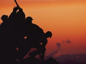 Silhouetted View of the Iwo Jima Memorial at Twilight by Anthony Peritore