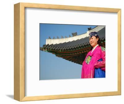 Gyeongbokgung Palace, Woman in Traditional Hanbok Dress, Gwanghwamun, Seoul, South Korea