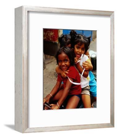 Portrait of Children Sitting on Motorbike, Chowringee, India