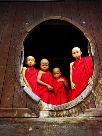 Portrait of Four Young Monks at Round Monastery Window, Inle Lake, Myanmar (Burma) by Anthony Plummer