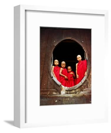 Portrait of Four Young Monks at Round Monastery Window, Inle Lake, Myanmar (Burma)