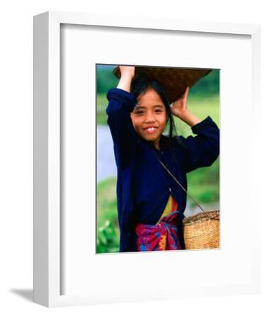 Portrait of Girl Balancing Basket of Herbs, Muang Ngoy, Laos