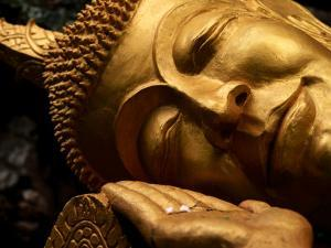 Sleeping Buddha Head with Frangipani Petals in Open Palm, Luang Prabang, Laos by Anthony Plummer