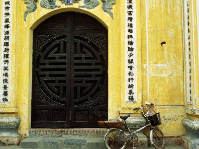Yellow Nguyen Thai Hoc Temple Entrance and Bicycle, Hanoi, Vietnam