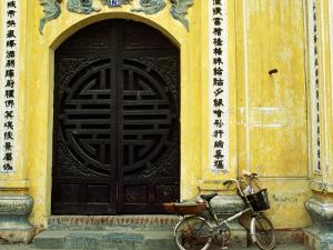 Yellow Nguyen Thai Hoc Temple Entrance and Bicycle, Hanoi, Vietnam by Anthony Plummer