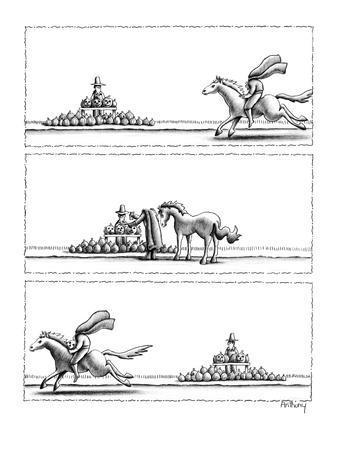 3 panel drawing. A headless horseman gallops up to a roadside pumpkin stan? - New Yorker Cartoon