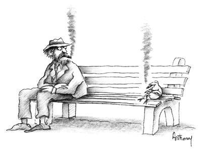 Hobo on park bench sees bird smoking the same kind of cigar he is. - New Yorker Cartoon
