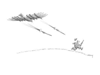 Hunter running from eagle with bombs under it's wings. - New Yorker Cartoon