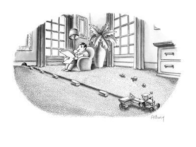 Mouse riding tractor makes little hay bundles of carpeting. - New Yorker Cartoon