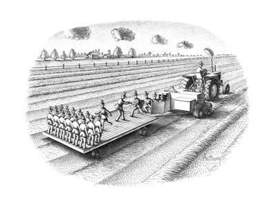 Tactor turning out replicas of the farmer/scarecrow. - New Yorker Cartoon